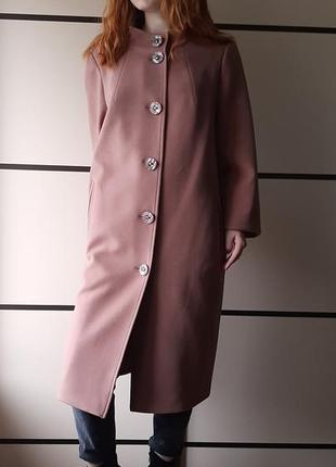 Теплое осеннее пальто за колено цвет коричневый ricco большие размеры 52,54,56,58
