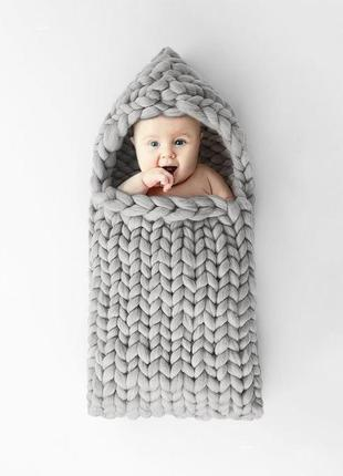 Конверт для младенца детский плед из шерсти мериноса ручная работа