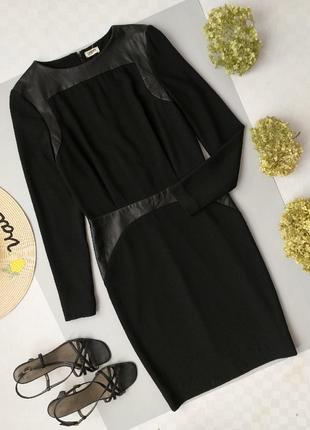 Платье миди с кожаными вставками lagence