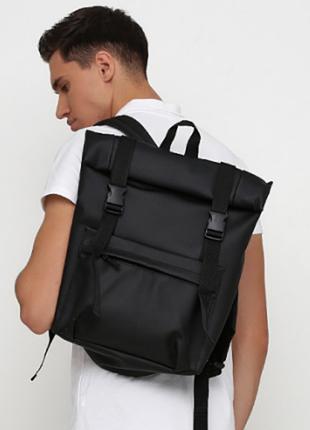 Трендовий рюкзак рол чорний для чоловіків та жінок з екошкіри