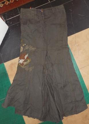 Эксклюзивная длинная джинсовая юбка