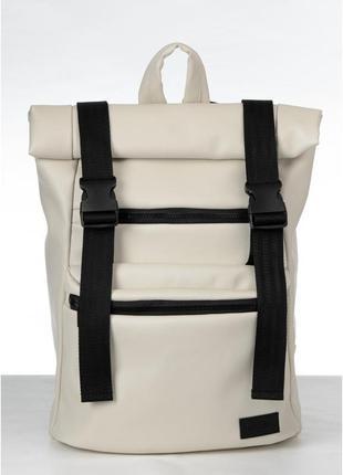 Рюкзак рол беж екошкіра для чоловіків та жінок