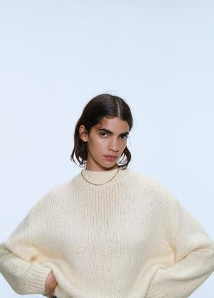 Шерстяной свитер zara/свитер с горлом/свитер оверсайз