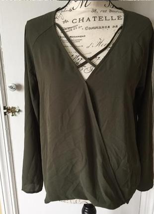 Стильная блуза на запах шнуровка накрест forever 21 хаки оливковый милитари