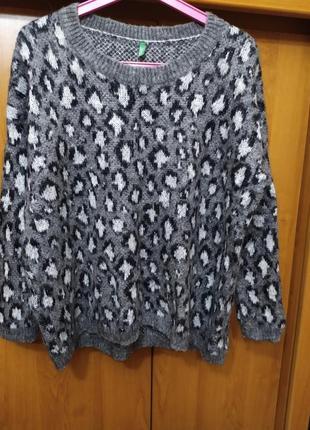 Батал большой размер оверсайз теплый мягкий мохеровый натуральный свитер свитерок