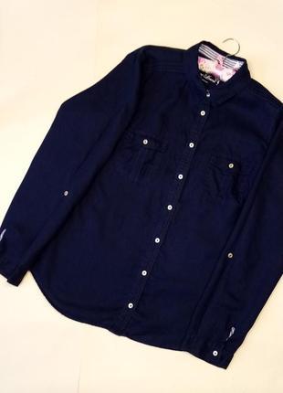 Брендовая рубашка длинный рукав лён  marks&spenсer