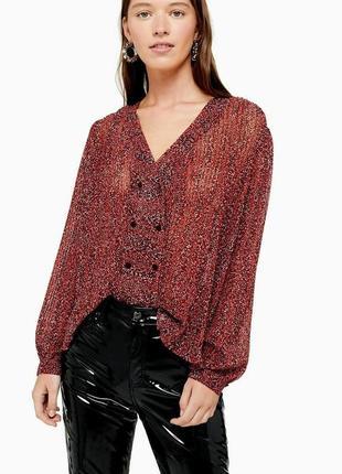 . . 3) стильна плісерована блуза в принт від topshop