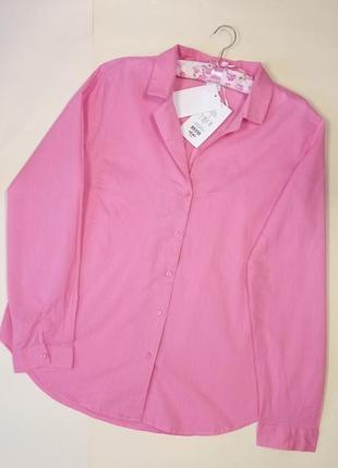 Брендовая новая рубашка длинный рукав розовая хлопок  ichi
