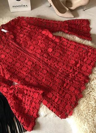Мега роскошная и супер стильная гипюровая блуза красного цвета, р.м/л...🌹💋❤️