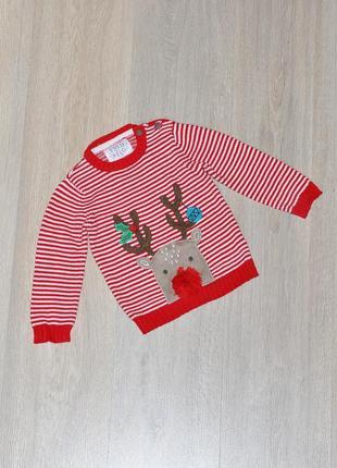 Новогодний свитер f&f. 9-12 мес. рождественский. теплый. свитерок fred&flo