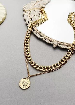 Ожерелье чокер цепочка золотистая многослойная ланцюжок