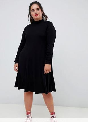 Теплое вязаное платье в рубчик размер 14- 16(46-48)