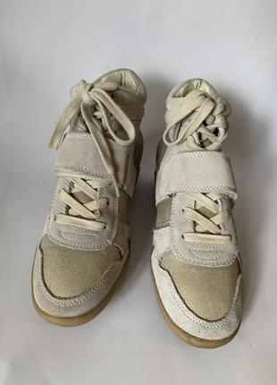 Сірі замшеві черевики promod