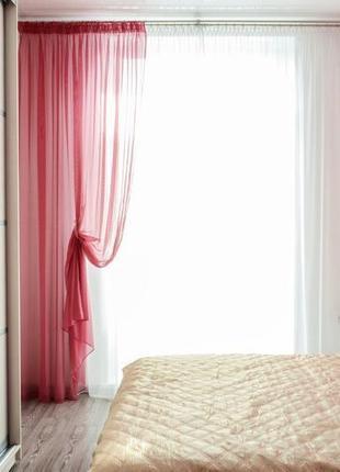 Комплект штор из вуали белая с бордовым