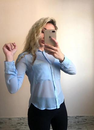Голубая нежная блуза блузка рубашка