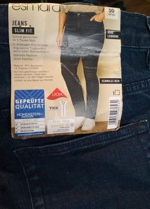 Батал! мягкие эластичные джинсы синего цвета esmara, р. 50, замеры на фото