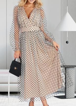 Женственное воздушное нарядное и элегантное платье сетка в горох