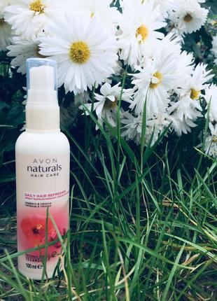 Avon naturals спрей бальзам для волос малина гибискус