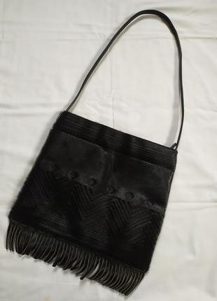 Винтажная стильная кожаная сумочка  с бахромой и натуральным мехом