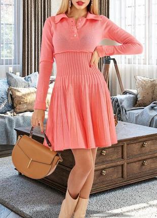 Мягкое и комфортное вязаное платье гофре плиссе