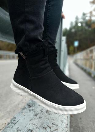 Gross мужские кожаные зимние ботинки угги натуральная кожа
