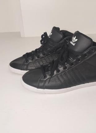 Черные кожаные кроссовки хайтопы adidas (оригинал)