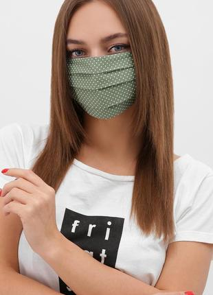 Разные цвета маска женская защитная черная зеленая синяя розовая/ в цветы  /в горох