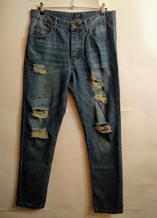 Стильные мужские рваные джинсы с потертостями размера 32r