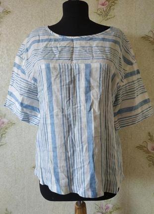Женская льняная блузка # блузка лён # блузка в полоску # m&s
