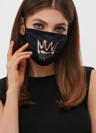 Разные принты женская маска защитная усы, зубки , молния, королева