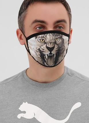 Разные принты мужская защитная маска многоразовая черная лев орел тигр доберман