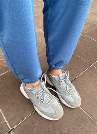 Синие спортивные штаны на высокой посадке 😍4 фото