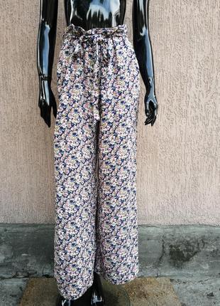 Летние вискозные брюки кюлоты цветочный принт new look