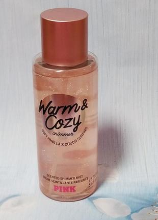 Мист для тела victoria's secret pink shimmer body mist warm and cozy
