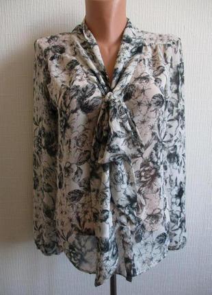 Sale -50%! шифоновая блуза в нежный цветочный принт с бантом new look