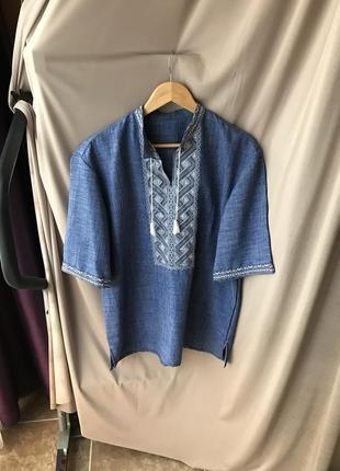 Мужская вышитая рубашка модная вышиванка вишита сорочка разм м-л