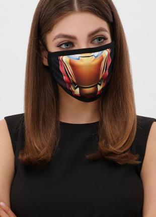 Разные принты женская защитная маска многоразовая спайдермен железный человек