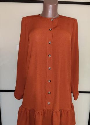 Чудесное терракотовое платье с оборкой papaya uk 12 на 46 р