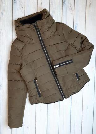 💥1+1=3 шикарный плотный пуховик куртка хаки zara, размер 46 - 48