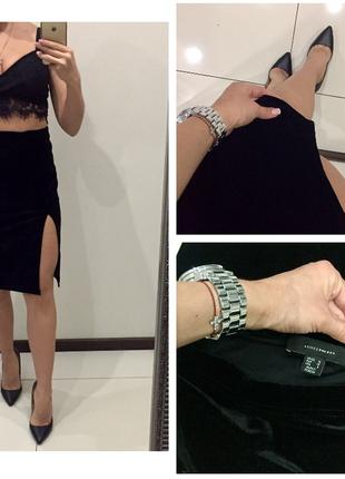 Шикарная чёрная бархатная юбка миди с разрезом atmosphere