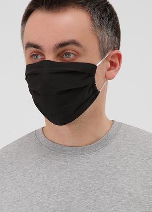 Синяя черная многоразовая защитная маска мужская однотонная унисекс