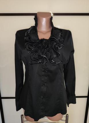 Шикарная черная рубашка блуза с жабо j & d италия  xl на 48 р