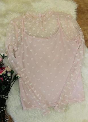 Акция🔥1+1=3🔥 блуза h&m в сердечко 10-12лет