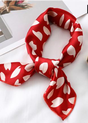 Платок платочек бант лента для волос на сумку топ-качество красный белый пятнистый новый