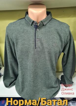 Мужской реглан свитер с воротником на пуговицах стандартные и большие размеры батал турция