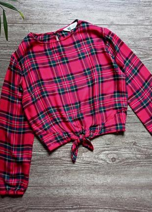 Красивая блуза в клетку шотландка 10-11 лет.