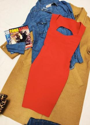 Платье красное алое короткое по фигуре карандаш футляр prague