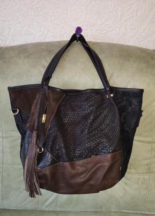 Фирменная большая  сумка  из натуральной кожи gianni conti италия