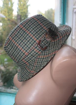 Стильная шляпа с пером рокабилли твид винтаж ретро модель унисекс