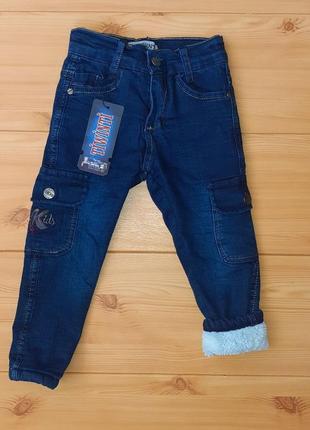 Теплые джинсы на махре для мальчика рр.98-110 beebaby (бибеби)
